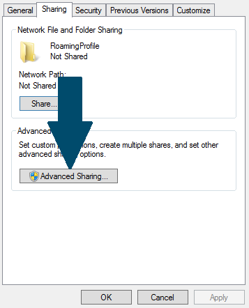 Open advanced sharing tab