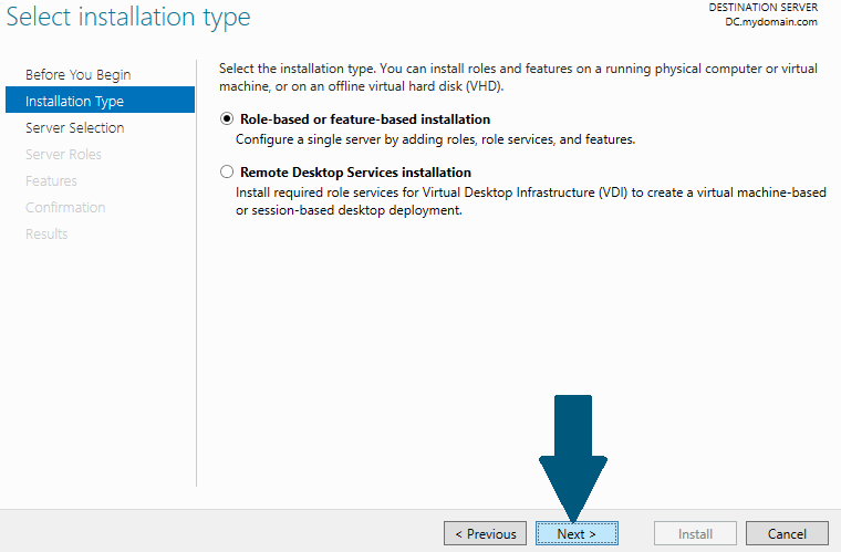 Select Role-based or feature-based installation.
