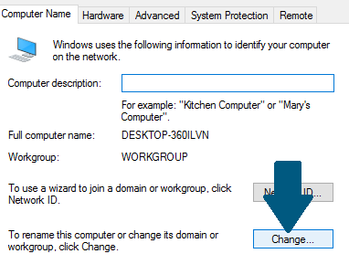 Computer name tab