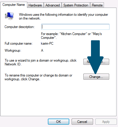 Click on the button to rename the computer