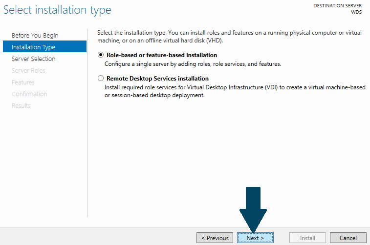 Choose Role-based or feature-based installation