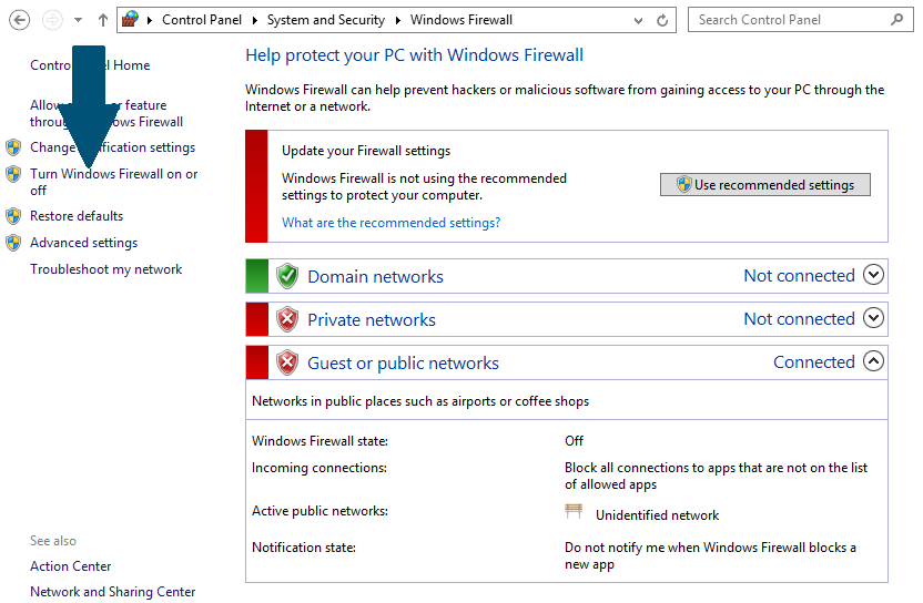 Click on - Turn off Windows Firewall