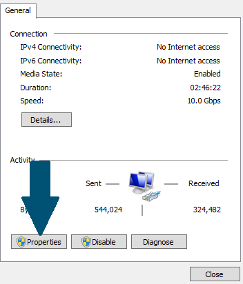 Click on the Network Properties