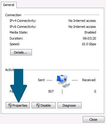 Click on the network properties.