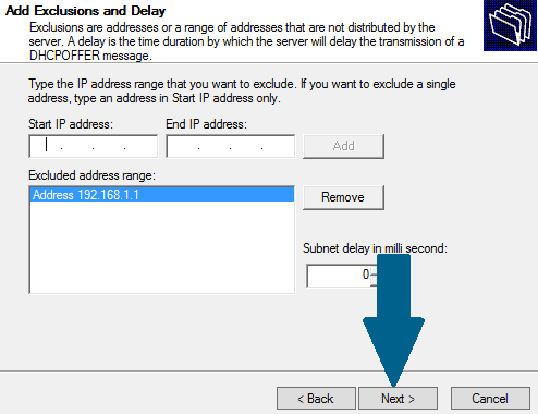 Exclude IP addresses from DHCP range