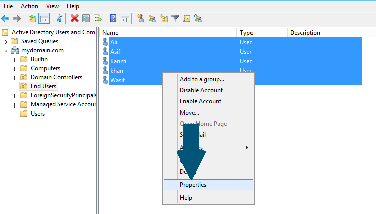 Select all users that you want to create a roaming profile for