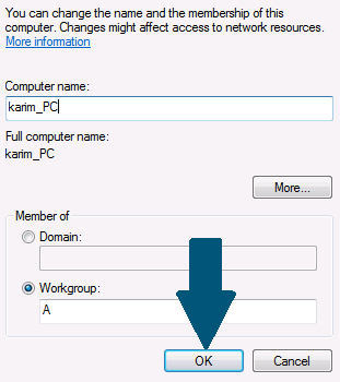 Enter the new computer name and click ok