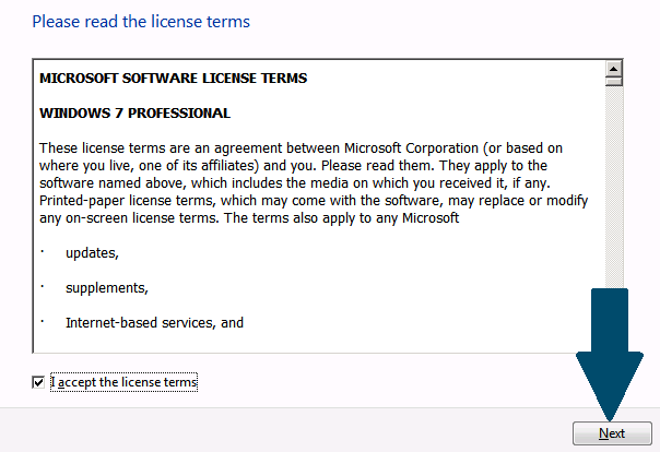 Accept the Windows Licence