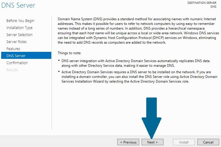 Read DNS server installation notes