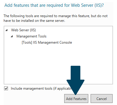 Choose Web Server (IIS) from roles