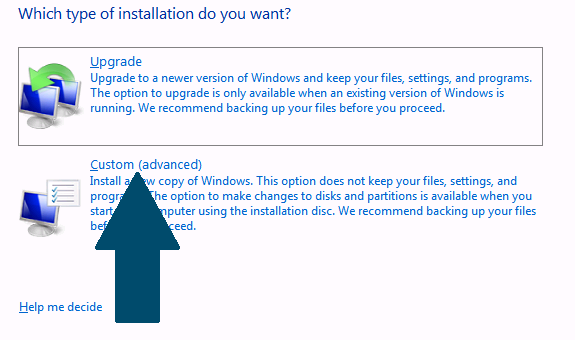 Choose advanced install