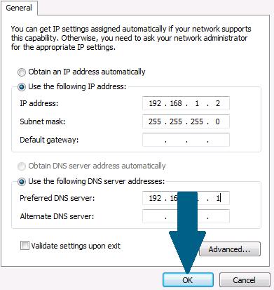 Enter IP address details