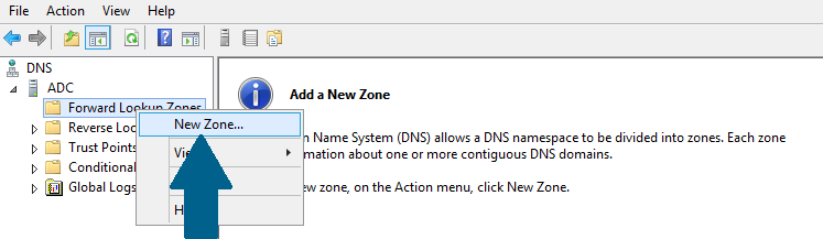 Add a zone in the secondary DNS manager
