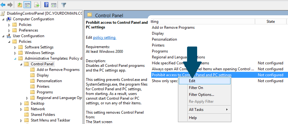 Prohibit access to Control Panel and PC settings