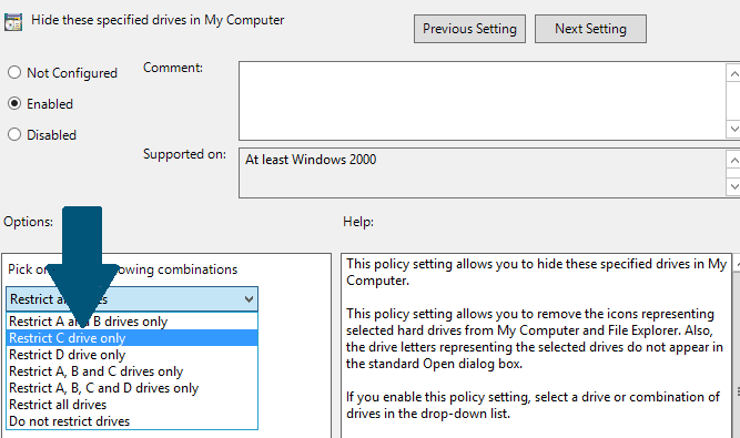 How to Hide C Drive Using Group Policies in Active Directory