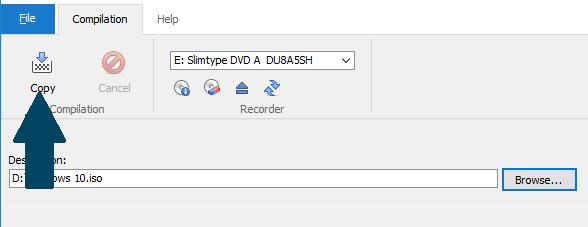 Choose destination folder for the ISO image