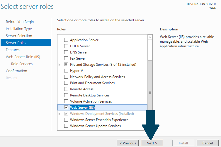 install the selected roles