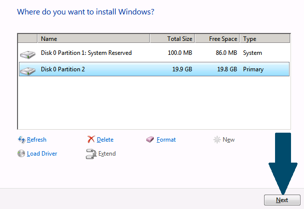 Choose installation partition.