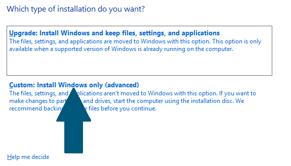 Custom: Install Windows only