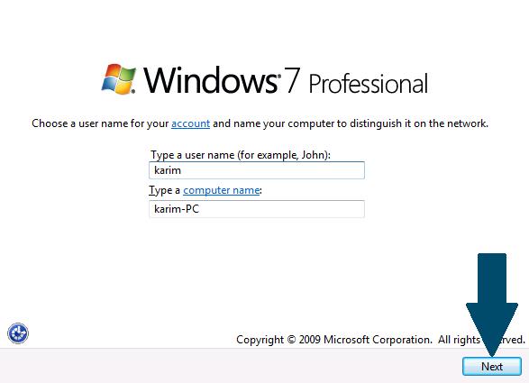 Enter the username and computer name