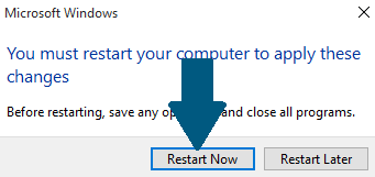 Click on Restart Now