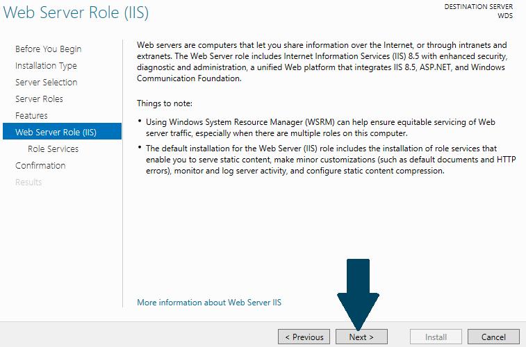 Install web server role
