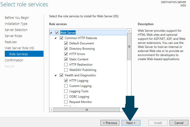 Install Role Services for IIS