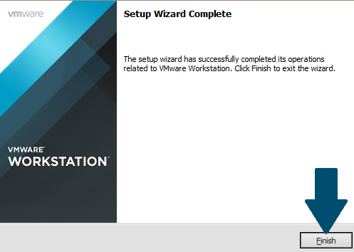 Finish the VMWare installation