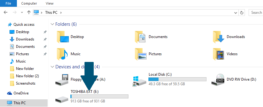 Open the external hard drive on the Windows 10 PC