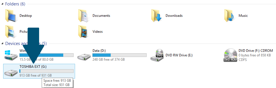 double click on external hd icon