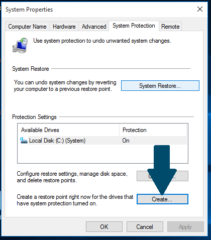 windows 10 create recovery point