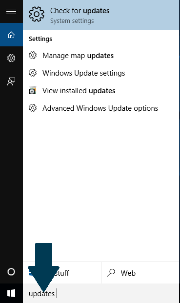 Check for updates in Windows