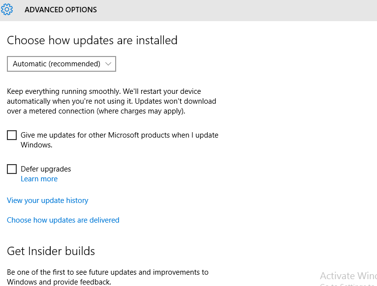 Windows Advanced update options