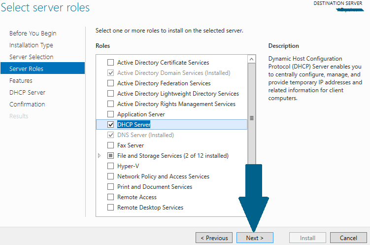Select server role: DHCP Server