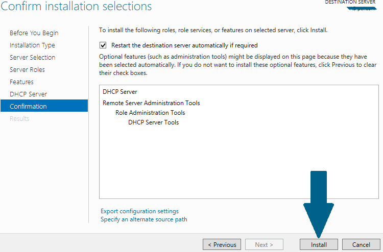 Confirm installation of DHCP Server