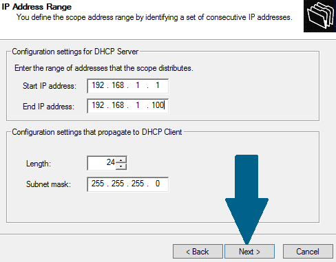 Set DHCP IP address range
