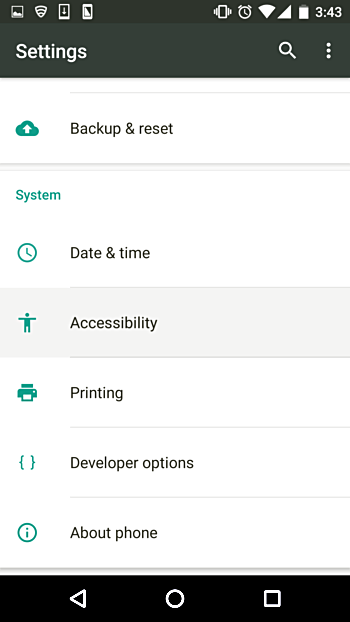 Settings->Accessibility