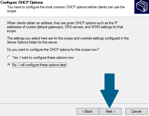 Configure DHCP options