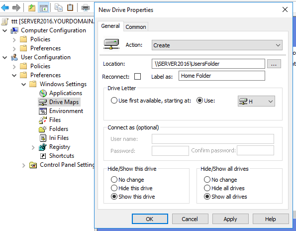 How to Map a Shared Folder to Network Drive Using Group Policy Drive Map on