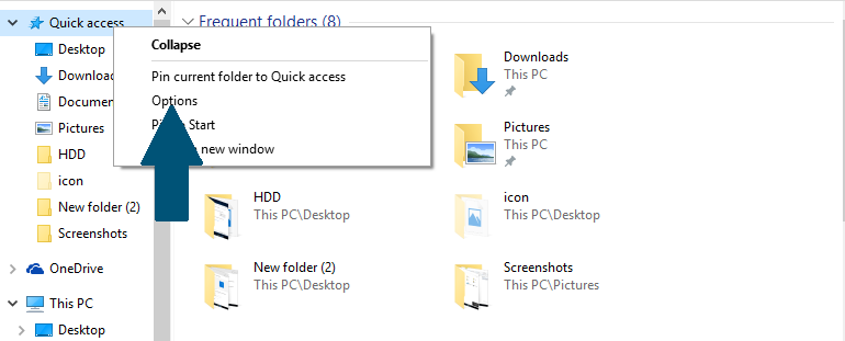 Change file explorer settings