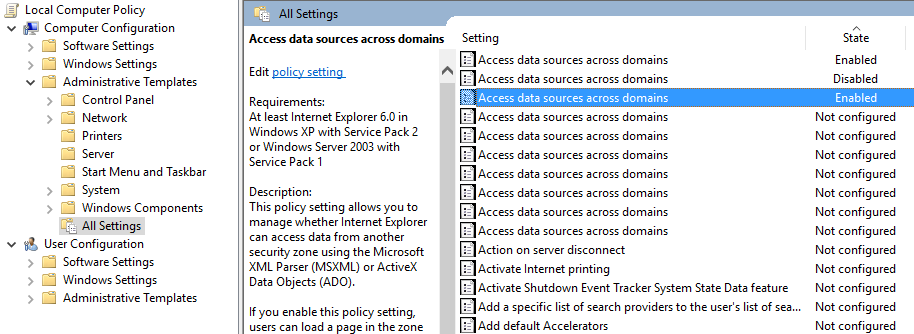 win 10 group policy settings