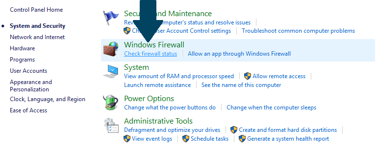 Open Windows Firewall settings
