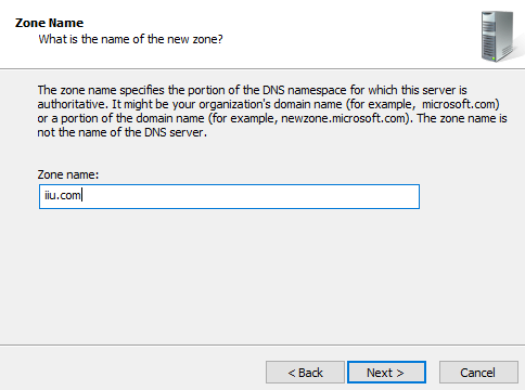 Enter DNS zone name