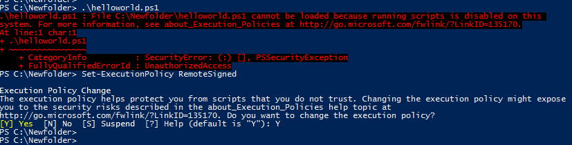 Set PowerShell privileges for a script
