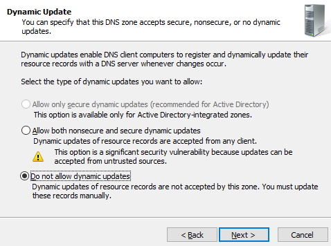 Do not allow dynamic updates