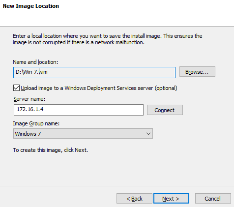 Upload image to WDS server