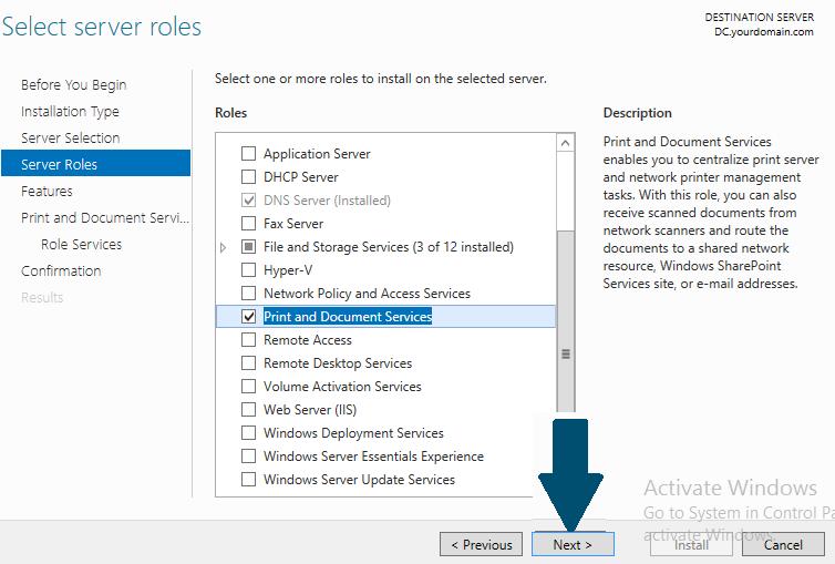 Choose server roles