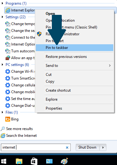 Pin Internet Explorer to Task Bar