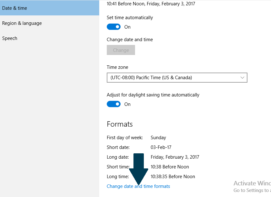 Change Windows 10 date and time format