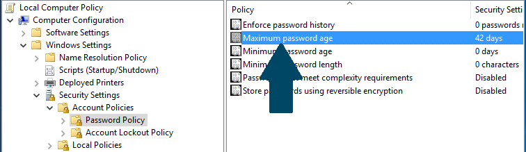 Maximum password age policy